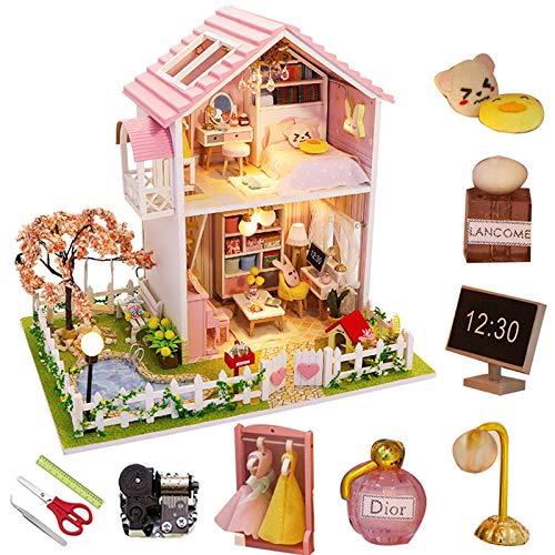 SJXM Kit de casa de muñecas en miniatura DIY Modelo de madera Edificio Villa grande con muebles y accesorios, sala de estar, dormitorio, cocina, cuarto de baño