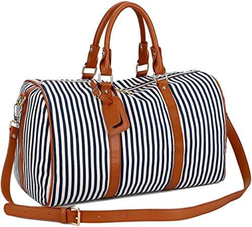 BAOSHA HB-24 Ladies Women Canvas Weekender Bag Travel Duffel Tote Bag Weekend Overnight Travel Bag (Blue)