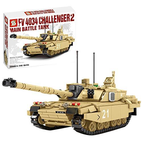 Seasy Juego de construcción de bloques de construcción de 904 piezas, técnica militar WW2 UK Challenger 2 tanques compatibles con la técnica Lego
