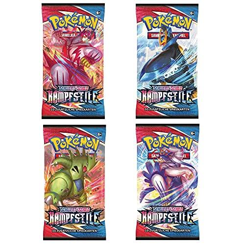 Kampfstile   4 Booster Packs im Set   Pokemon Schwert & Schild   Sammelkarten