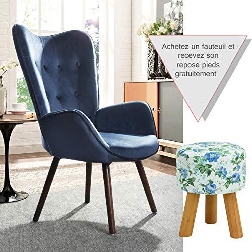 Furnish1 Silla de Ocio cómoda y contemporánea, Silla con Detalles de Terciopelo Sedoso con Respaldo de botón, sillón, Silla de salón, Azul
