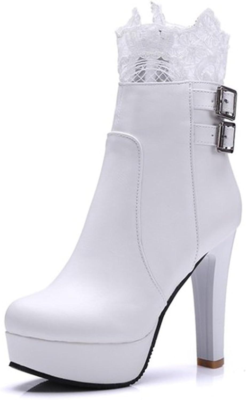 IDIFU Women's Elegant Lace Spliced Side Zipper High Block Heels Platform Ankle Boots