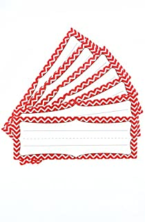 Renewing Minds Isabella Nameplates, 9-1/4 x 2-1/2 Inches, Red Chevron, Pack of 36