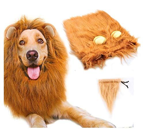 HAMISS Löwenmähne Löwenmähne Perücke Kostüm für mittelgroße bis große Hunde mit Ohren und Schwanz, Fancy Löwenhaar mit Schwanz für Urlaub Fotoshootings Party
