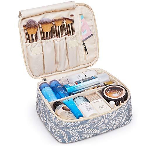 Neceser de viaje para maquillaje, organizador grande para mujeres y niñas (Hoja azul)