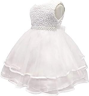 KINDOYO Newborn Girls Ruffle Tutu Dresses - Infant Birthday Ball Gown Prom Princess Wedding Baptism Dress Photo Shoot, Beige, 6M