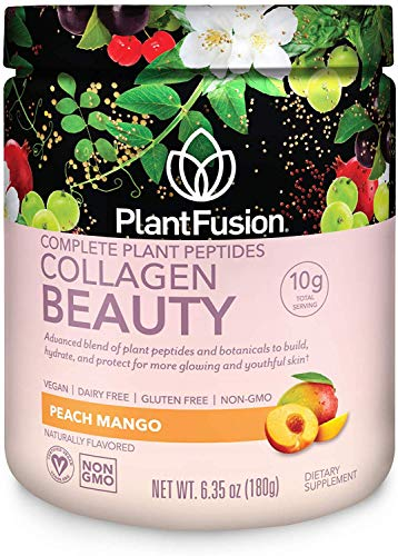 PlantFusion Collagen Beauty Plant Peptides Powder | Vegan Collagen Supplement for Skin Hydration, Elasticity, and More Glowing and Youthful Skin| Gluten-Free, Non-GMO |Peach Mango, 6.35 Ounce