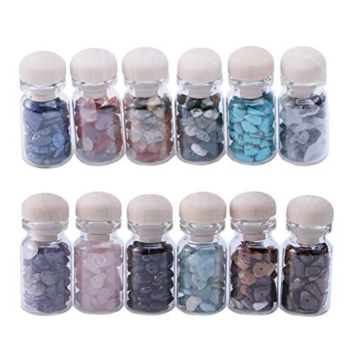 Vosarea 12Pcs Kristallchips, die Flasche zerquetschte treibende Flaschen der Edelsteinphiole für Inneneinrichtungsgeschenk wünschen