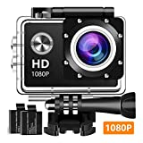 Action Camera, 12MP 1080P 2 Inch LCD Screen, Waterproof Sports Cam 120 Degree Wide Angle Lens, 30m Sport Camera DV Camcorder with with 2 Rechargeable Batteries and Mounting Accessories Kit 1080T04