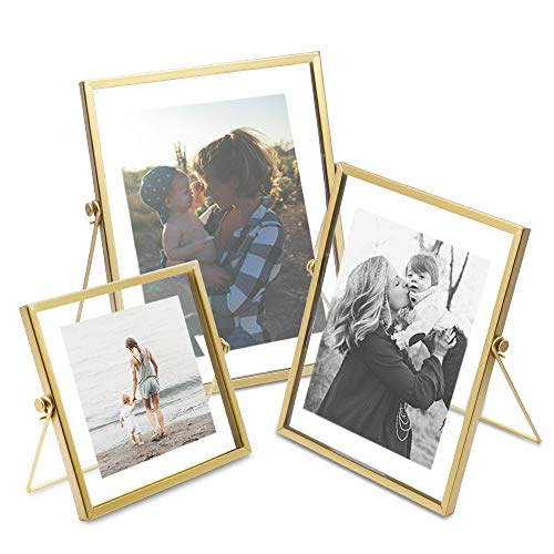 AceList Set of 3 Glass Photo Frame Collection Simple Metal Geometric Picture Frame with Plexiglas Cover Includes 4 x 4, 4 x 6, 5 x 7