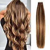 Lacerhair Balayage Tape in Hair Extensions Remy Human Hair 20 Pieces 50 Grams Chocolate Brown to...