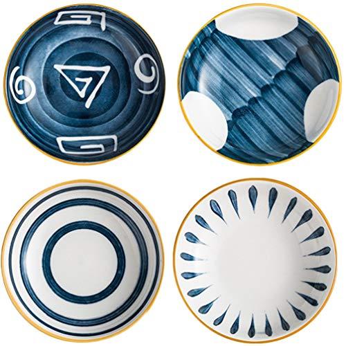 YARNOW 4 Pezzi Piccole Ciotole in Ceramica Set di Piatti da Immersione in Porcellana Ciotola Tazzine per Sushi Salsa di Pomodoro con Chip di Soia E Ciotola da Portata