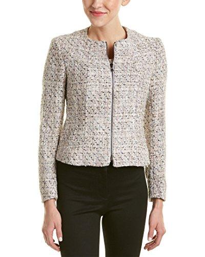 Anne Klein Women's Tweed Zip Front Jacket, Palladium Combo, 14