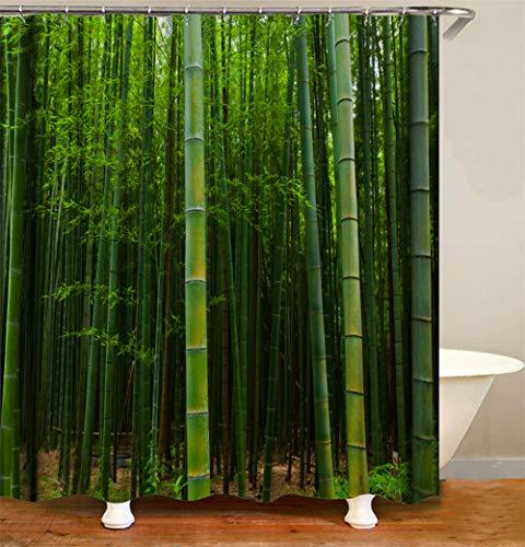 ZZZdz natuurlijke decoratie. Groene bamboe douchegordijn. 180 x 180 cm. 12 vrije haken. Huisdecoratie. 3D Hd-druk. Eenvoudig te reinigen. Badkameraccessoires.