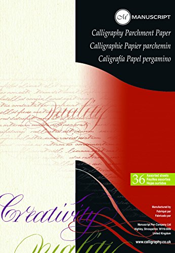 Manuscript Calligraphy 36 Sheets – Ideal for Beginners – Bleed-Proof 90gsm Parchment Paper, 300mm x 211mm x 7mm