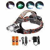 Rechargeable Headlamp,3000 Lumen Brightness Waterproof Helmet Light Headlight Flashlight Torch with Batteries