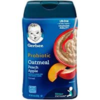 6-Pack Gerber Baby Cereal Probiotic Oatmeal & Peach Apple Baby Cereal