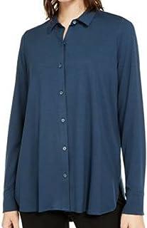 Details about  /EILEEN FISHER Navy Blue 100/% Organic COTTON SZ Small SHIRT Blouse Button Om