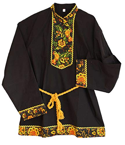 Russisches Hemd 'Kosakenhemd' Hochloma Schwarz (L)