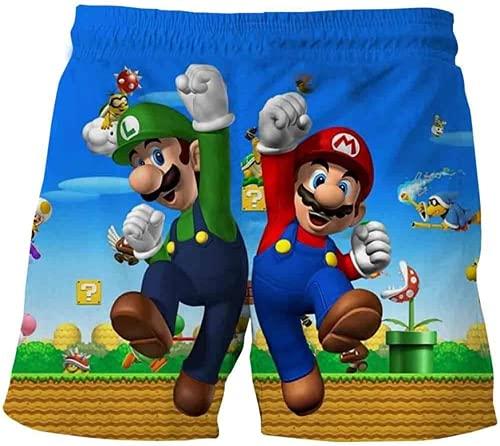LIJUNQI Super Mario - Costume da bagno per bambini, 3D, costume da bagno hawaiano, ad asciugatura rapida, con cordino, Mario 1, 9-10 anni