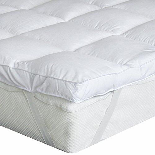 Bedecor Microfaser-Polyester-Matratzen-Auflage, Unterbett, Matratzen-Topper, üppig gefüllt, extra-weich, 180 x 200 cm