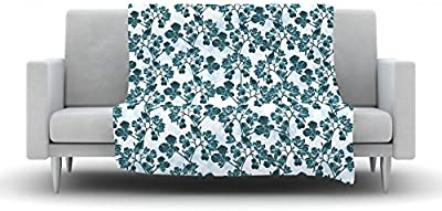80 by 60 Kess InHouse Catherine Holcombe Blue Raspberry Jellybean Blue Geometric Fleece Throw Blanket