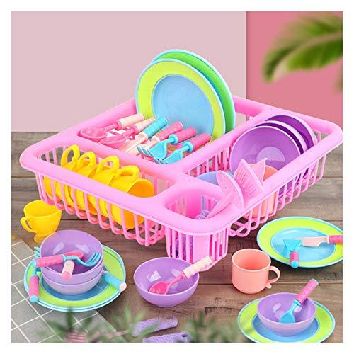 Juguete de cocina Un conjunto de divertidos juguetes de aprendizaje para niños Cocina Juguete Chica Pretend Play Play Kitchen Playset Wash and Seco Vajilla Plato Estante de Juguete ( Color : White )