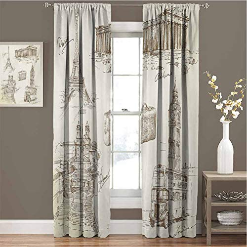 Travel Room Darkened Heat Insulation Curtain Sketch Art Collection of Travel Over European Landmarks and Vintage Style Suitcase Living Room Curtains W72 x L84 Inch Brown Cream