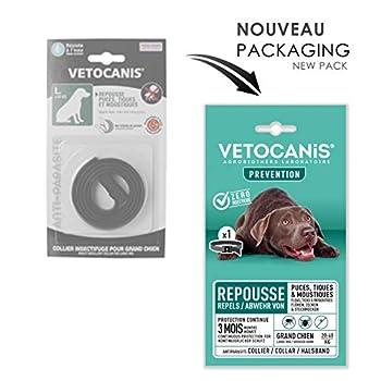 Vétocanis - Collier Répulsif Puces Tiques Moustiques - Protection 3 mois - Grand Chien 20 à 40 kg - Extraits Naturels Margosa et Lavandin