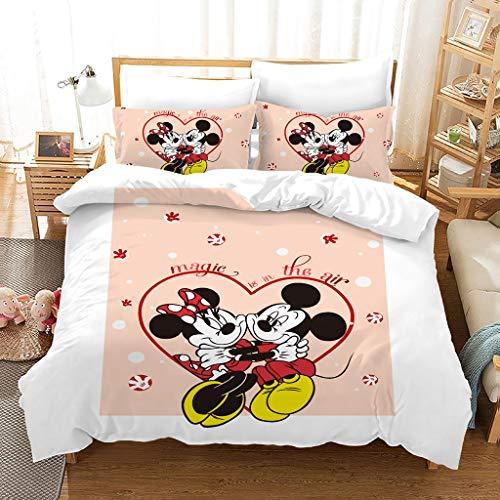 SSIN Disney Theme Funda de edredón para niños, diseño de Minnie Mickey Mouse impreso, adecuado para niños y niñas, dormitorio (C2,220 x 260 cm)
