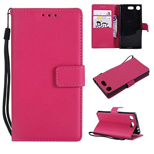 Snow Color Coque Sony [Xperia XZ1 Compact] Portefeuille, en Cuir Flip Case pour Bumper Protecteur Magnétique Fente Carte Housse Cover Coque pour Xperia XZ1 Compact - COMS021128 Rose Rouge