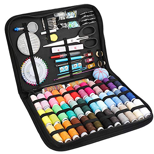 Travel Sewing Kit for Adult, SAKEYR 183 Premium Sewing Supplies with Sewing Thread/Buttons/Needlepoint Kits/Sewing Repair Patches/Scissors etc, Sewing Project Kits, for Emergency/Beginners/Kids