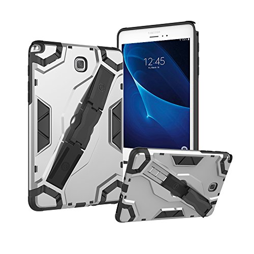 Galaxy Tab A 8.0 Case 2015, Roiskin Tablet Case with Hand Strap Kickstand Latest Rugged Flexible Soft TPU Full Body Armor Defender Protective Case Fits Samsung Tab A 8.0 Inch 2015 SM-T350/T355-Silver