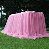 Hanguin Falda de mesa tutú para mesas redondas o rectangulares, postre, decoración de festival, boda, baby shower, fiesta de cumpleaños, decoración (rosa)