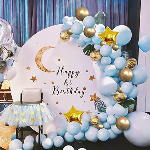 Guirnalda de globos, color azul y dorado, juego de globos de látex...