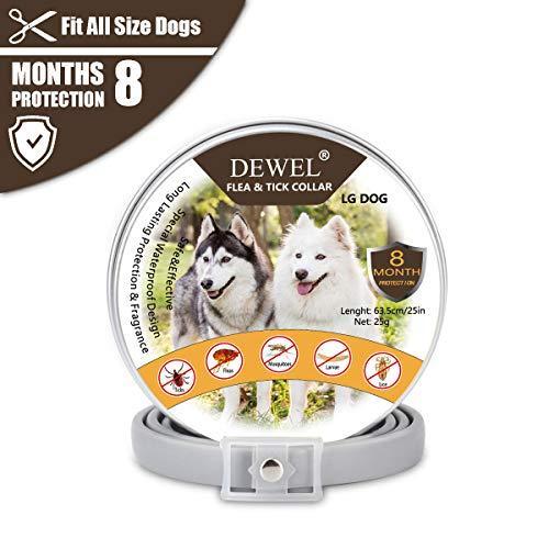 DEWEL 63,5cm Hundehalsbänder gegen Ungeziefer, Verstellbar Zecken Halsband für Hunde und Katze Wasserdicht Hund Flohhalsband