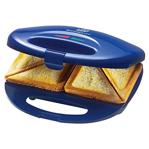 Bomann ST 5016 CB Sandwichtoaster, 3-eckige Sandwichplatten, automatischer Temperaturregler, mit 2 Kontrollleuchten, Antihaftbeschichtung, Überhitzungsschutz, blau