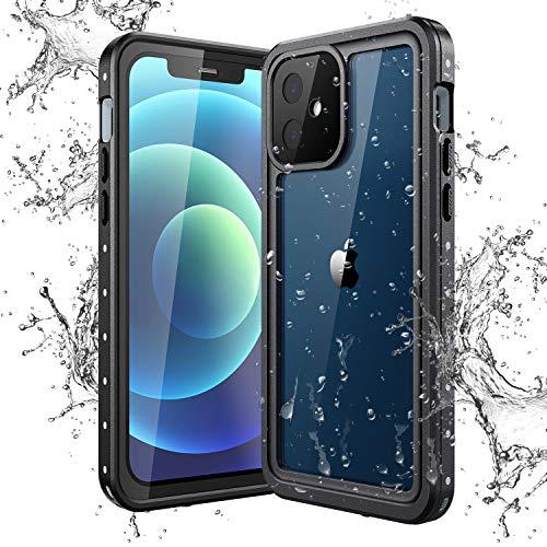 Yokata Cover per iPhone 12, Custodia Impermeabile IP68 Certificato Trasparente Cover Waterproof Full Protezione Antiurto AntiGraffio Antipolvere Antineve Subacquea Protettiva Caso (6.1 ) - Nero