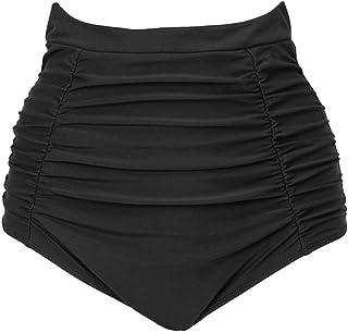 STARBILD Women High Waisted Ruched Bikini Bottom Retro Brief Swim Shorts