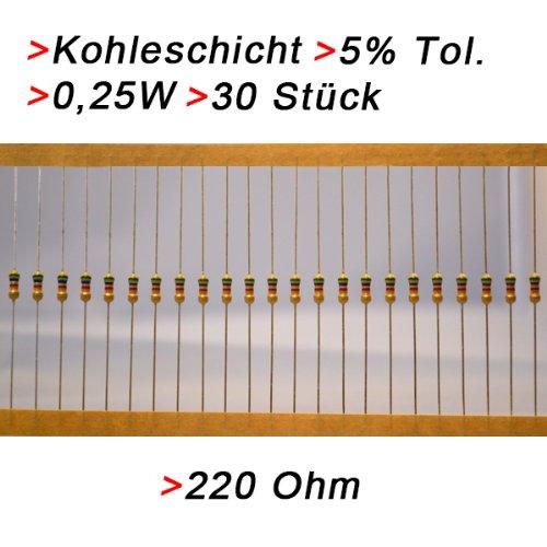 Widerstand 220 Ohm, 30 Stück, Kohleschicht 0.25W 5% Widerstände Resistor