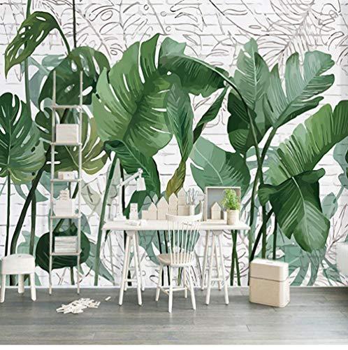 Retro 3D Wallpaper Moderne Regenwald Grüne Pflanze Canna Blatt Wandbild Tapete Wohnzimmer Schlafzimmer Hintergrund Wandmalerei Dekoration Neues Haus Geschenk