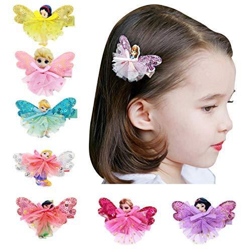 7 unids/lote princesa mariposa lazo para el cabello niñas accesorios para el cabello para niños pinzas para el cabello de dibujos animados horquilla para niñas 7 colores