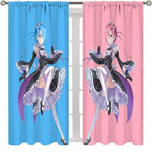 Lush Decor Duschvorhang Cartoon Anime Cute Twin Girls Rezero Rem and Ram Leichter Vorhang B 63 x L 63 cm