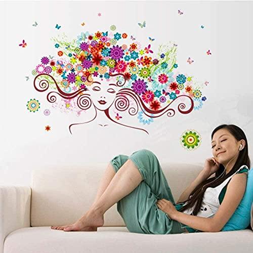 Hermosa mujer flor mariposas etiquetas de pared dormitorio sala de estar fondo decoración decoración del hogar etiqueta arte papel tapiz 3d papel pintado