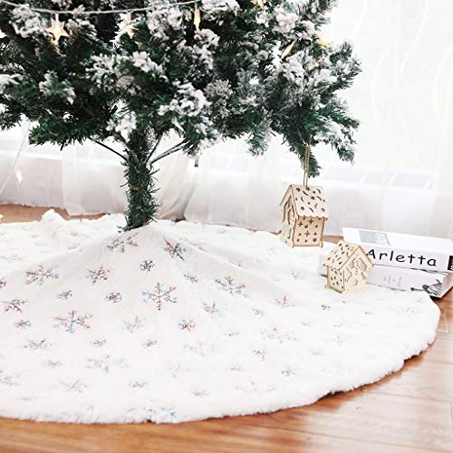 Kaximd Christmas Tree Skirt 30/36/49 inches Xmas White Tree Skirts Snowflake Embroidery for Christmas Decorations Holiday Party 198 Colorful 78