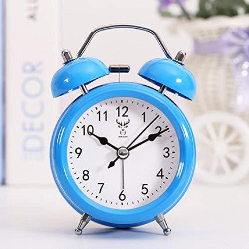 FPRW wekker met dubbele retro bel, nachtkastje, stil, creatief, minimalistisch, bureauklok, lichtsignaal, type 7