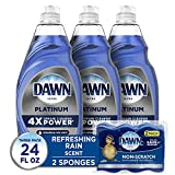 Dawn Dish Soap Platinum Dishwashing Liquid + Non-Scratch Sponges for Dishes, Refreshing Rain Scent, Includes 3x24oz + 2 Sponges (Packaging May Vary)