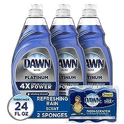 professional Dawn Platinum Liquid Dishwashing Liquid (3 x 24 oz) + Scratch Prevention Sponge (2), Refreshing …