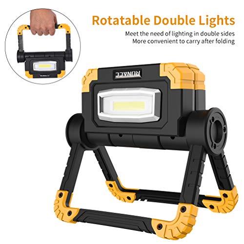 RUNACC Projecteur LED Rechargeable Projecteur Chantier 20W 1500LM Lampe de Travail Lanterne Portable...