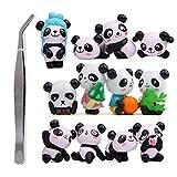 Lzdingli Lindo Panda Juguetes Figuras Set de Juego Decoración Artesanía para Bricolaje Jardinería Muñeca Pastel Decoración Niños Juguetes, 1 Juego (12 Piezas)